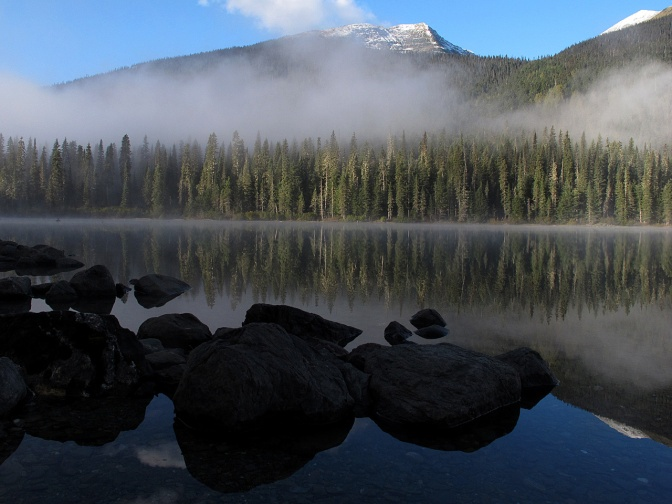 Fog lifting on Isaac Lake.