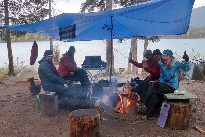 Tarpology to keep us dry and a fire to keep us warm at Unna Lake.