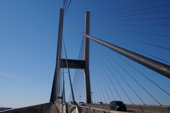 Crossing the Alex Fraser Bridge.