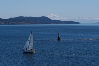 A view of Mt. Baker as we sail into Victoria.