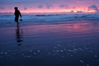 Christoph cooling his heels at Kalaloch Beach.