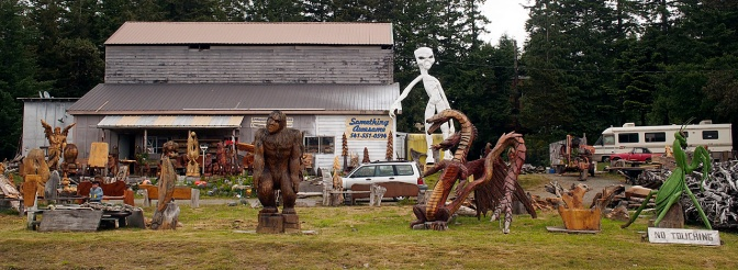 Wood sculptures for sale on the road south of Bandon.
