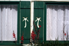 Window shutters of the Palm Motel and cafe in Orick, CA.
