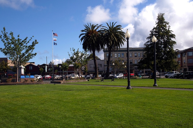 Arcata's central plaza is reminiscent of South American towns.