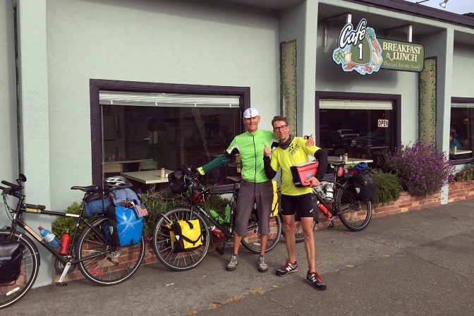 Rod and Christoph at Cafe 1, our breakfast stop in Ft. Bragg, CA.