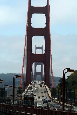 Looking south across the Golden Gate Bridge entering San Fransisco.