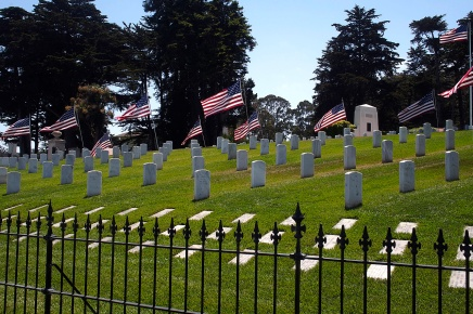 Preparations for Memorial Day at the San Fransisco National Cemetery at the Presidio.