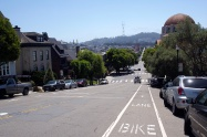 Some steep climbs were ahead to get to our destination in the Castro neighbourhood below the Sutra Tower and Twin Peaks visible on the horizon.