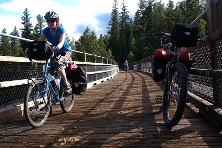 Jan and Lawrence crossing the first trestle bridge.