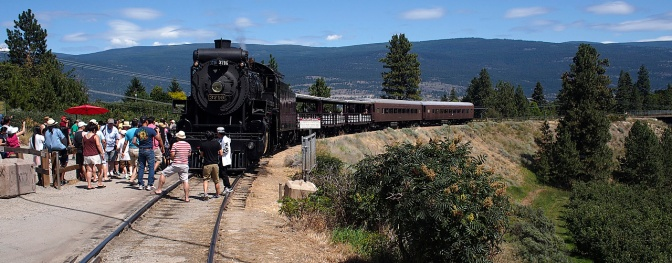 Popular with tourists, a steam train still runs a short section between Prairie Valley and Summerland.