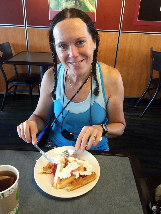 Jan having some waffles on the ferry to Galiano Island.