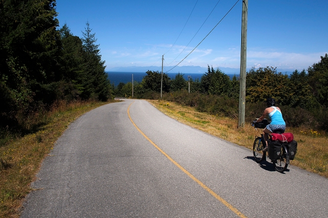 Riding north on Galiano Island.