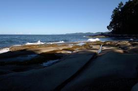 Looking south along Galiano Island's east shore.