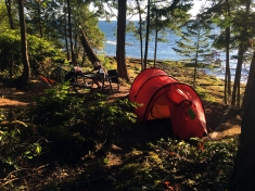 Forested camp sites along the shore at Dionisio provide a great setting to spend a night or two.