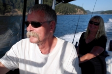 Greg and Val taking us for a boat ride around the south end of Galiano to Montague Harbour for a drink at the pub.