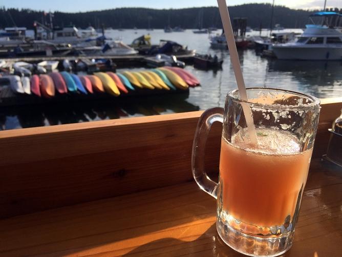 Sundowner margarita at the pub in Montague Harbour.