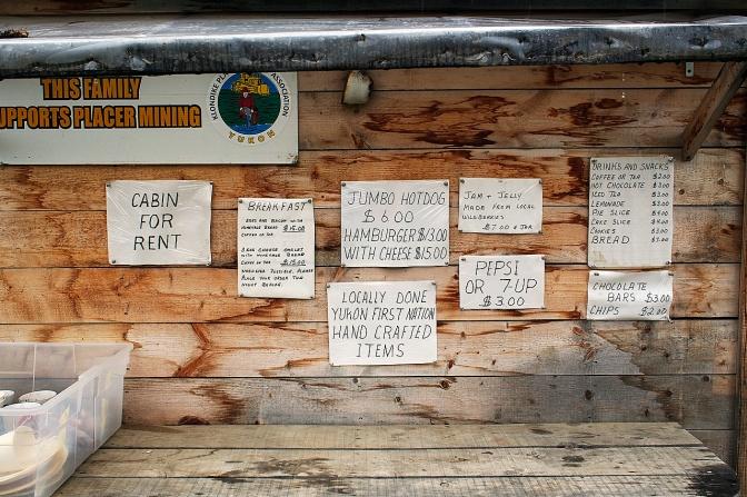 The menu at Kirkman Creek bakery.