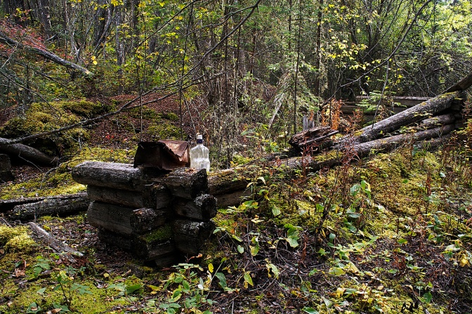 Cabin remains at Meacham Creek.