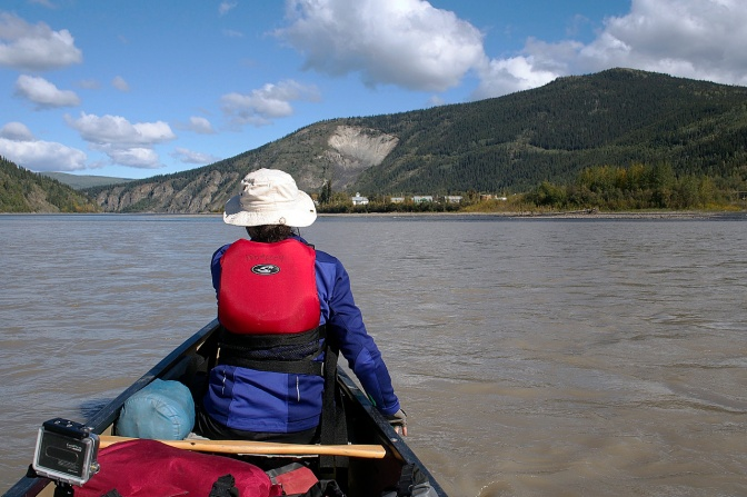 After two weeks on the river, we paddle into Dawson City.