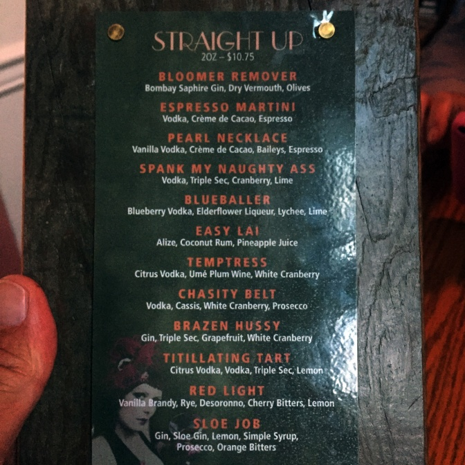 The cocktail menu in Bombay Peggy's pub.