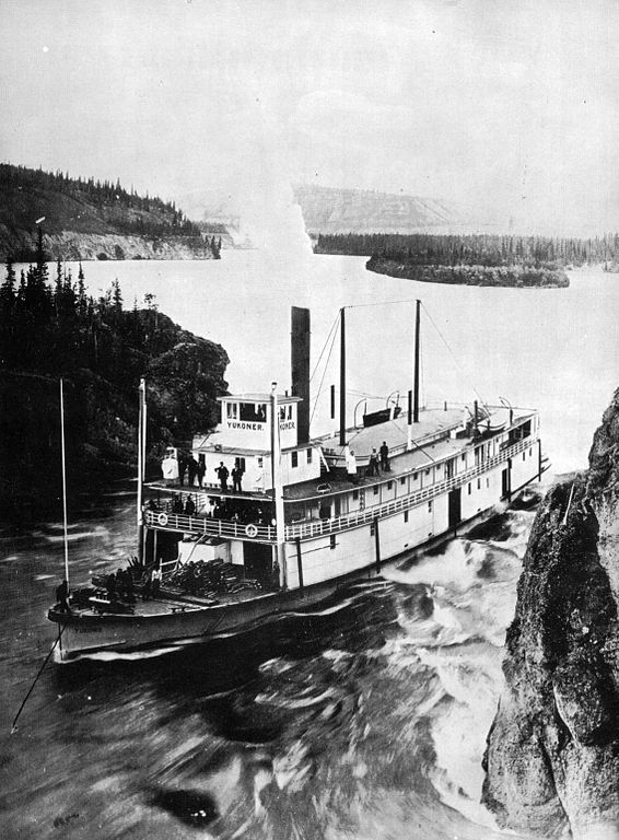 Steamer Yukoner being lined through Five Finger Rapids. photo: Wikimedia Commons