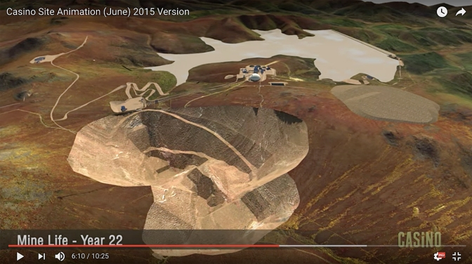 Screen shot of the Casino Mine Project animation showing the open pit and the tailings pond.