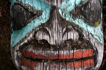 Weathered totem in Haines, AK.