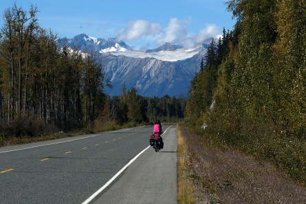 Riding north into the mountains from Haines, AK.