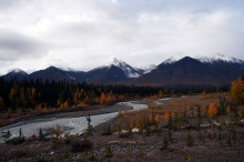 Camped along a creek with a view of the Kluane Mountains.