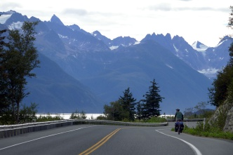 Riding out of Haines along the Chilkat River.