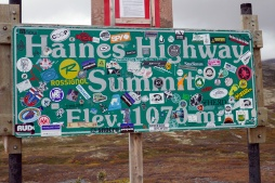 Barely legible: Haines Highway Summit Elevation 1070 metres.