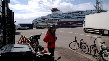 Waiting to board the ferry in Helsinki.