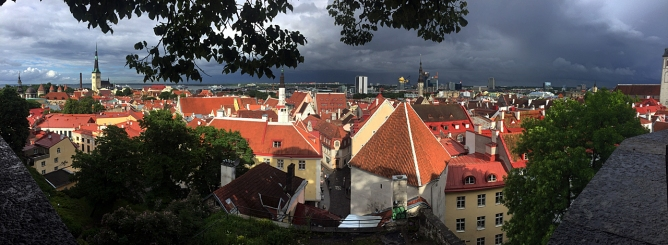 Panoramic view of old and new Tallinn.