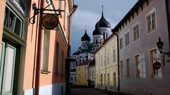 The Russian Orthodox Cathedral can be seen from many places.