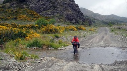 Jan fording a creek on Clarence Valley Road
