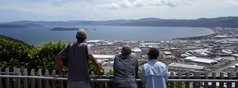 Paul, Richard and Enid overlooking Wellington Harbour from Wainuiomata Lookout